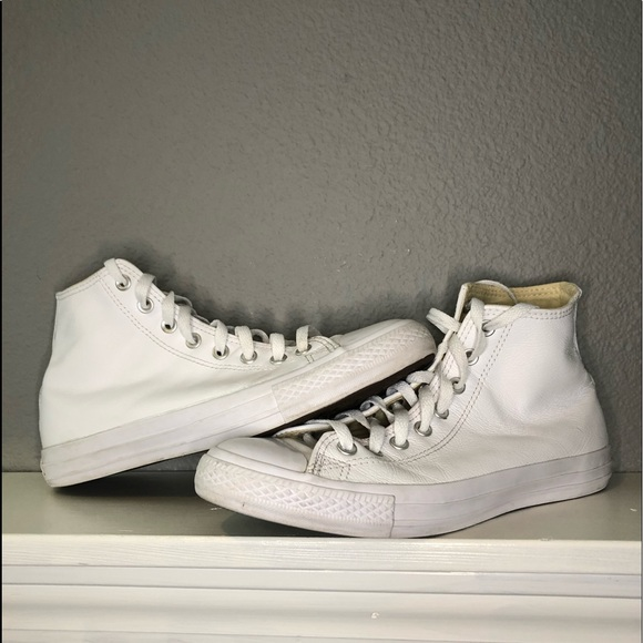 Men's all white high top converse all star
